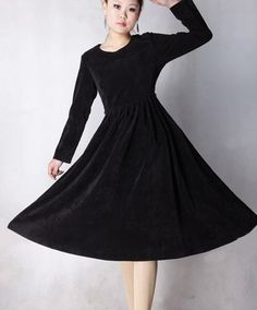 einfarbig elegant cord Langes Kleid