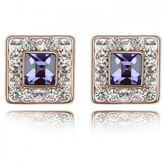 Austrian Crystal Stud Earrings Women Fashion Jewelry High Quality Rose Gold Plated Crystal from Swarovski Earrings Square #4387
