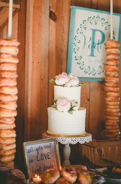 Wedding Cakes : Picture Description Two tiered wedding cake adorned with peonies: The Cakery; And those donut stacks! Two Teir Cake, Wedding Cake Two Tier, Floral Wedding Cakes, White Wedding Cakes, Wedding Reception Planning, Wedding Ideas, Bridal Show, Spring Wedding, Dream Wedding