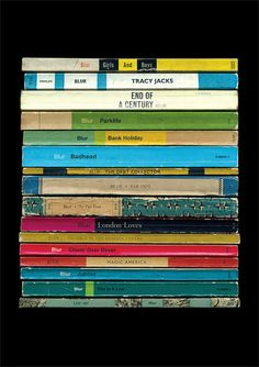 Blur 'Parklife' Album As Books Poster Print Literary Print Penguin Books