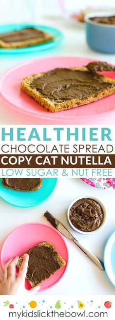 Nut free low sugar healthy chocolate spread. Copy Cat Nutella but much healthier when homemade and perfect for lunch boxes. Perfect for kids