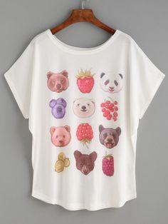 Shop White Animal Head Print Dolman Sleeve T-shirt online. SheIn offers White Animal Head Print Dolman Sleeve T-shirt & more to fit your fashionable needs.