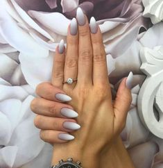 Nail models 2018 latest designs for nail art nailart nail naildesign nailsw White Almond Nails, Almond Shape Nails, Acrylic Nails Almond Classy, Fall Almond Nails, Short Almond Shaped Nails, Almond Nail Art, Classy Nails, Trendy Nails, Bling Nails