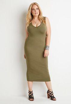 Plus Size V-Neck Midi Dress   Forever 21 PLUS - 2000156561