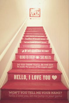 Stairs & Lyrics. yess. i would love this on our stairs.