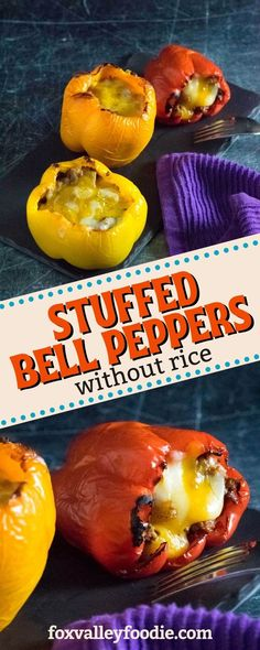 This recipe for stuffed bell peppers without rice loads tender baked peppers with ground beef, melted cheese, and a seasoned tomato sauce. Eliminating rice from this popular meal drastically cuts down… Fast Healthy Meals, Easy Healthy Recipes, Easy Meals, Best Beef Recipes, Whole Food Recipes, Keto Recipes, Delicious Dinner Recipes, Appetizer Recipes, Recipe For Stuffed Bell Peppers