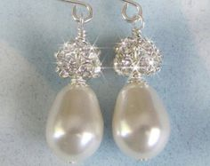 Bridal Earrings Rhinestone Fireball and Teardrop by JaniceMarie
