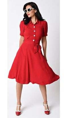 1940s Style Red Shirt Waister Short Sleeve Swing Dress