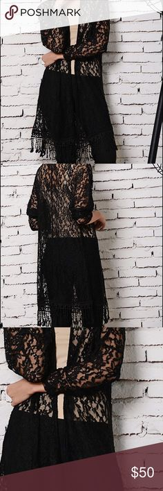 Black lace Fringe Cardigan regular & plus Super Sassy in this Sassy Bling black lace Cardigan with fringe available in small-2X.. fits true to size sassy bling Jackets & Coats