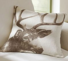 @Jessica Hammock... saw this and thought of you. Antler Pillow Cover | Pottery Barn
