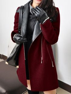Leather & Burgundy Coat