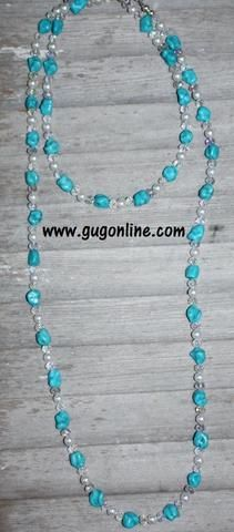 GUG Hand Strung Turquoise Nugget, Pearl, and Crystal Necklace