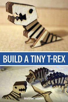 Laser cut and assemble these pieces to make a tiny t-rex. #dinosaur #lasercut #bones #skeleton #tyrannosaur #fossil #toy #model Laser Cutter Ideas, Laser Cutter Projects, Cnc Projects, Laser Art, Laser Cut Wood, Laser Cutting, Fine Woodworking, Woodworking Crafts, 3d Laser Printer