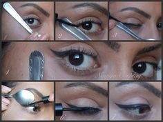 How to create the perfect winged eye-liner using a spoon.
