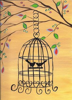 Whimsical Bird Cage Painting Original Acrylic by JoleyWileyFineArt, $30.00