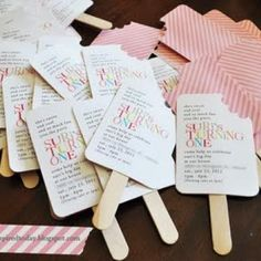 """These DIY invitations for a first birthday party are so """"cool""""! You could also use them for a Summer get-together or an ice cream social. Homemade Birthday Invitations, Diy Invitations, Invitation Birthday, First Birthday Parties, First Birthdays, Summer Birthday, Popsicle Party, Festa Party, Party Planning"""