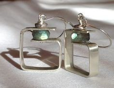 Brushed Sterling Silver geometric earrings - cold connections set with Labradorite gemstones. Made by Linda Goodman of Rune Stone Design.