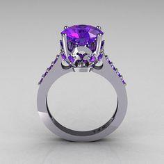 Classic Bridal 14K White Gold 3.0 Carat Purple Tanzanite Solitaire Wedding Ring R301-14WGTA on Etsy, $849.00