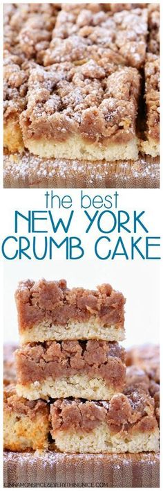 Best New York Crumb Cake Entenmann's Copycat Crumb Cake! Everyone will ask for the recipe - it's so good! The Best New York Crumb CakeEntenmann's Copycat Crumb Cake! Everyone will ask for the recipe - it's so good! The Best New York Crumb Cake 13 Desserts, Delicious Desserts, Yummy Food, New York Desserts, Jewish Desserts, Cinnamon Desserts, Cinnamon Recipes, Healthy Food, Food Cakes