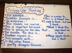 Pushing Our Thinking Anchor Chart -      Great sentence stems for science talks, debriefs, etc.