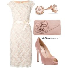 Ivory lace dress with blush accessories