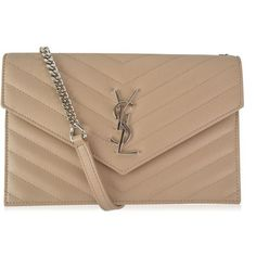 Saint Laurent Envelope Chain Bag (1,230 CAD) ❤ liked on Polyvore featuring bags, handbags, shoulder bags, dark beige, chain handle handbags, chain strap shoulder bag, leather shoulder bag, beige leather handbags and leather envelope clutch