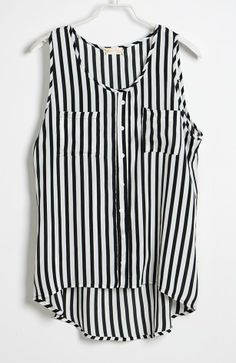 Black Stripe Round Neck Button Chiffon Tank Shirt