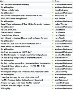 "Elinor Dashwood's inbox by Mark Brownlow  I think ""Re: Die, bitch, die"" is my favorite."