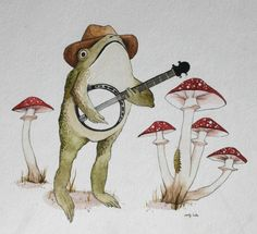 Arte Hippy, Frosch Illustration, Frog Pictures, Frog Art, Mushroom Art, Cute Frogs, Hippie Art, Aesthetic Art, Collage Art