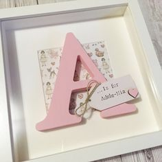 Personalised Baby Girl Nursery Wall Art/New Baby Gift/ Name Frame/ Christening Gift/ Birthday Gift Framed Letters, Scrabble Frame, Box Frame Art, Box Frames, Nursery Frames, Nursery Art, Girl Nursery, Letter A Crafts, Frame Crafts