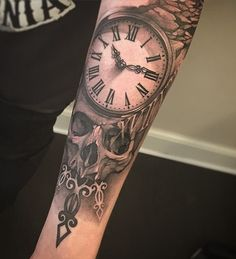 Relistic watch and skull forearm tattoo for man - 100 Awesome Watch Tattoo Designs