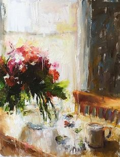 """Daily Paintworks - """"Table by the Window"""" - Original Fine Art for Sale - © pepa sand"""