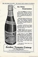 1910 Vintage Snider's Tomato Catsup Bottle of Ketchup Original Print Ad