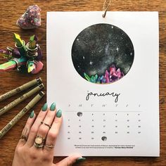 This is a 12 month 2018 calendar (January 2018 - December 2018) Each month is illustrated with a hand-painted watercolor moon (some illustrations include bursting crystals, to bring extra healing and growth during those months!) Each moon features a monthly mantra to inspire you