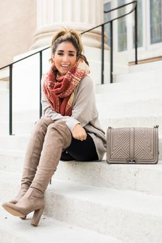 "Fashion blogger The Darling Detail wears Dreamers by Debut V-Neck Tunic      Free People Loveland Plaid Fringe Scarf, FRAME ""Le High Skinny"" High Rise Crop Jeans, Steve Madden 'Emotions' Stretch Over the Knee Boots, Rebecca Minkoff 'Geo Quilted Love Jumbo' Crossbody Bag, Larsson"