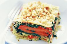 This low-fat vegetarian lasagne alternates layers of tasty eggplant and capsicum with creamy ricotta and is topped with a golden, crispy crumb.