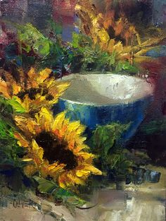 """Daily Paintworks - """"Sunflowers and Blue Bowl"""" - Original Fine Art for Sale - © Julie Ford Oliver Sunflower Art, Sunflower Paintings, Watercolor Projects, Fruit Painting, Abstract Flowers, Acrylic Art, Fine Art Gallery, Types Of Art, Beautiful Paintings"""