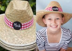 Cute hats - love the gingham - individual names seem to be a lot of extra work