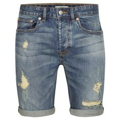 TOPMAN Mid Wash Stretch Skinny Ripped Denim Shorts (150 BRL) ❤ liked on Polyvore featuring men's fashion, men's clothing, men's shorts, mens distressed shorts, mens stretch shorts, mens ripped denim shorts, mens distressed denim shorts and mens ripped shorts