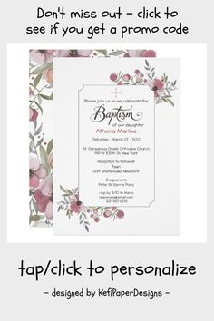 Athena Baptism Invitation. Invitation #greek #baptism #greek #christening #girl #Invitation