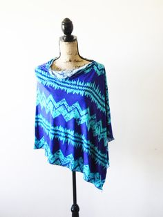 Blue/ Turquoise Tribal Poncho/ Aztec Nursing by JessMDesigns, $20.00