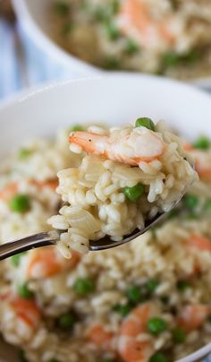 Quick and easy recipe for Shrimp and Pea Risotto   tablefortwoblog.com-- OBSESSED WITH RISOTTO