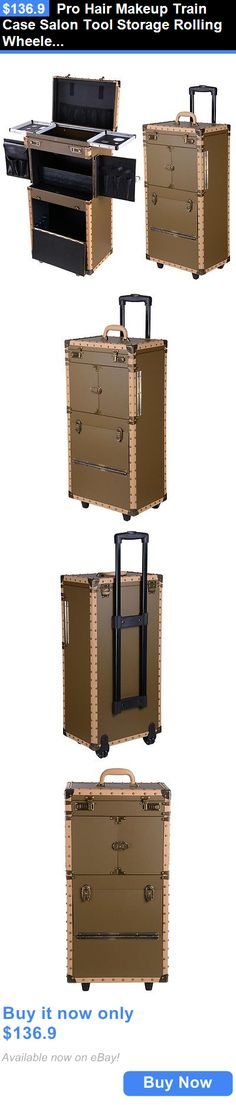 Rolling Makeup Cases: Pro Hair Makeup Train Case Salon Tool Storage Rolling Wheeled Extra Large Box BUY IT NOW ONLY: $136.9
