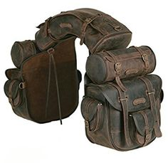 Complete, unique saddle bag, ideal for trekking riders and long riders. The saddle consists of a saddle bag with six pockets and quick release, long inner ties for a more secure closure, one cantle bag and two round saddle bags which can be detached and Riding Gear, Horse Riding, Leather Projects, Motorcycle Gear, Retro Motorcycle, Motorcycle Accessories, Custom Bikes, Leather Working, Leather Craft
