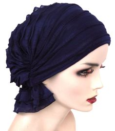 The Abbey Cap in Ruffle Navy.  Alternative head covers.      Chemo Beanies also makes some.