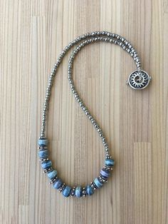 Boho Necklace, Blue and Silver Necklace, Beaded Necklace, Seed Bead Necklace, Silver Necklace, Gift For Her, Mother's Day, One of a Kind