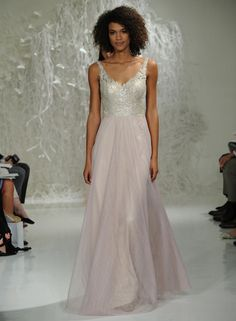 Watters Fall 2016 silver and blush wedding dress with sparkly lace bodice and flowing tulle skirt   https://www.theknot.com/content/watters-wedding-dresses-bridal-fashion-week-fall-2016