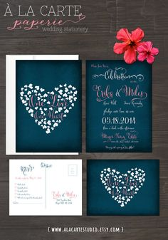 One Love, One Heart  - Navy Blue Chalkboard Wedding Invitation Card and RSVP postcard on Etsy
