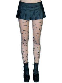 "Women's ""Bat Flight"" Pantyhose by Lip Service Clothing (Nude)"