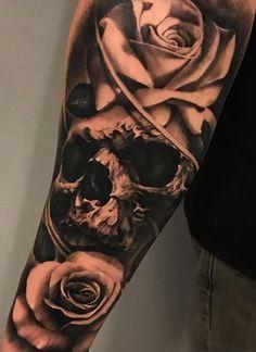 80 Skull and Skull Tattoos - TopTattoos, Octopus Tattoo Sleeve, Skull Sleeve Tattoos, Best Sleeve Tattoos, Sleeve Tattoos For Women, Wicked Tattoos, Dope Tattoos, Badass Tattoos, Skull Rose Tattoos, Rose Tattoos For Men